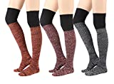 STYLEGAGA Winter Knit Over The Knee High Boot Socks (One Size : XS to M, Heather Knit_3Pair)