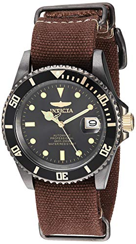 Invicta Men's Pro Diver Stainless Steel Automatic-self-Wind Diving Watch with Canvas Strap, Brown, 22 (Model: 27629)