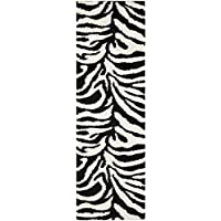 Safavieh Zebra Shag Collection SG452-1290 Ivory and Black Runner (23 x 7)