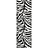 Safavieh Zebra Shag Collection SG452-1290 Ivory and Black Runner (2'3'' x 7')