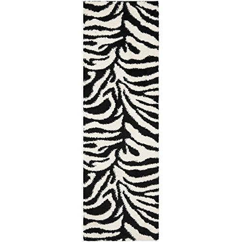 Zebra Print Runner - Safavieh Zebra Shag Collection SG452-1290 Ivory and Black Runner (2'3