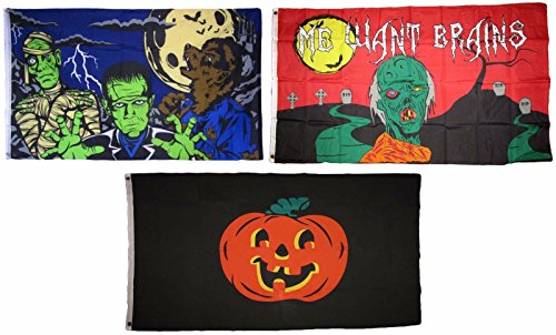 ALBATROS 3 ft x 5 ft Happy Halloween 3 Pack Flag Set #29 Combo Banner Grommets for Home and Parades, Official Party, All Weather Indoors Outdoors