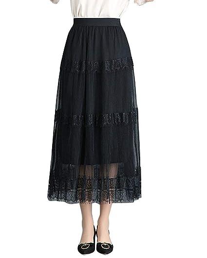 8366b85f8 JINSH Falda Larga de Gasa para Mujer, Faldas Plisadas largas de ...