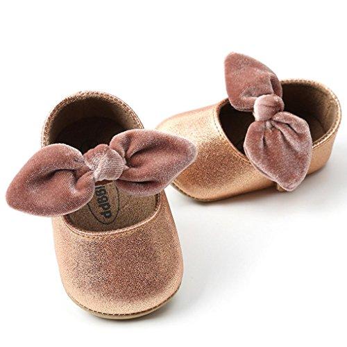 Prevently Baby Kleinkind Schuhe Bow Princess Kleinkindschuhe Baby-Mädchen-Prinzessin Bowknot-Mode-Kleinkind-Erste Wanderer-Kinderschuhe Khaki