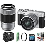 Fujifilm X-A5 24.2MP Mirrorless Camera XC 15-45mm f/3.5-5.6 OIS PZ Lens, Silver - Bundle 50-230mm F4.5-6.7 OIS II Lens, Camera Case, 16GB SDHC Card, 58mm UV Filter, Software Pack More