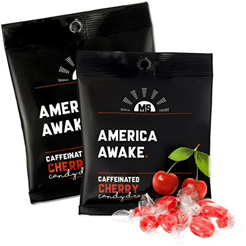 America Awake Cherry Flavor Caffeinated Candy - Extra Energy Brain Focus 40 milligrams Caffeine Anhydrous Per Serving - Made in the USA - 2 Pack