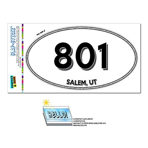 Salem Cross - Graphics and More Area Code Euro Oval Window Laminated Sticker 801 Utah UT Alpine - Woods Cross - Salem
