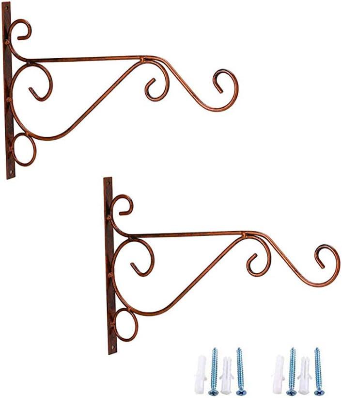 "Rainbowroseus 2 Pack 10"" Iron Hanging Plants Bracket Decorative Wall Planter Hanger Hooks with Screws for Bird Feeder Lanterns Wind Chimes (Red Copper)"