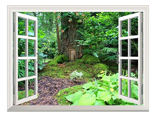 Removable Wall Sticker Wall Mural Elf Treehouse in The Forest Creative Window View Wall Decor