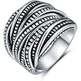 Shefashion Women's Vintage Oxidized Silver Layered Statement Rings Wide Band Rings, 15mm Width,Size 10