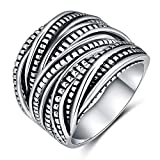 #6: Shefashion Vintage Oxidized Silver Ring Intertwinded Statement Rings Women Men Size 7-10