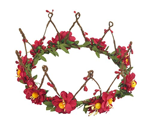 Twig And Berries Costume (Red Artificial Pip Berry Hair Wreath Small Tiara Wedding Headband Head Garland Green Leaves Crown Accessories)