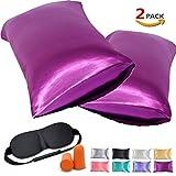JINHONGRUI Silk Satin Pillowcase for Hair and Skin, Facial Beauty Hypoallergenic, No zipper Pillowcase Covers, Standard, Queen, King Size Pillowcase Set of 2 Pillow Bulk (King(20 x 40''), Purple Red)