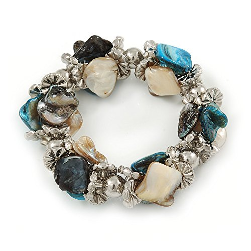 Avalaya Blue/Natural Sea Shell Silver Tone Acrylic Bead Flex Bracelet - 18cm L