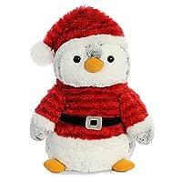 "Aurora World  11.5"" Pompom Penguin Santa - Medium, Grey, White, Red"