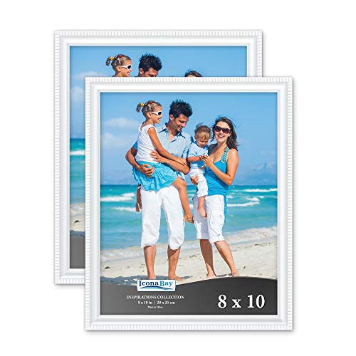 Icona Bay 8x10 Picture Frames (2 Pack, White) Picture Frame Set, Wall Mount or Table Top, Set of 2 Inspirations Collection (2 8x10 Picture Frame)