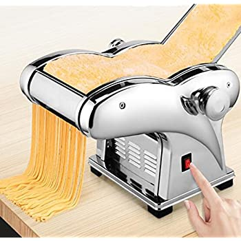 Image of Commercial Pasta Machines Pasta Maker, 110V Electric Noodle Press Machine Spaghetti Pasta Maker Commercial Stainless Steel Dough Cutter Dumplings Roller Noodles Hanger,6 Speed Adjustable Thickness Setting (2 Noodle Knife)