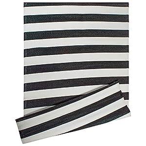 DII CAMZ38834 Stripe Outdoor Rug, 4x6 Black & White