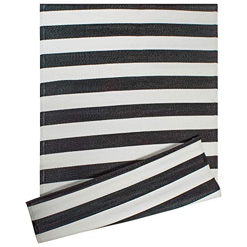 DII Contemporary Indoor/Outdoor Lightweight Reversible Fade Resistant Area Rug, Great For Patio, Deck, Backyard, Picnic, Beach, Camping, & BBQ, 4 x 6′, Black/White 3.5″ Stripe