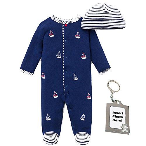 Little Me Nautical Sailboat Footie, Striped Hat & Keychain Preemie, Navy Blue ()