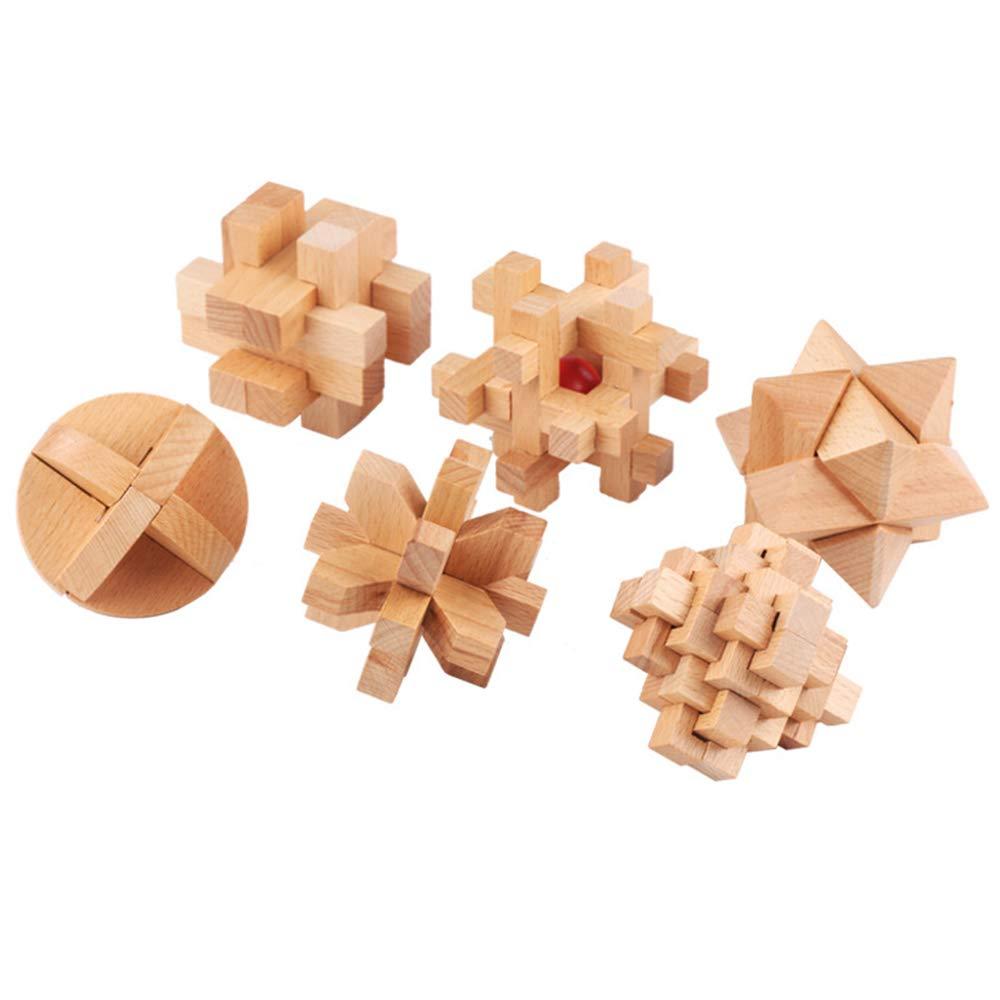 6pcs   Set Creative Unlock Toy IQ Brain Teaser Kong Ming Lock Wooden Interlocking 3D Puzzles Kids Adults Toys
