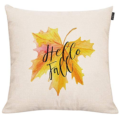 - GTEXT Fall Leaf Throw Pillow Cover Autumn Decor Pillow Cuhion Cover Case for Couch Sofa Home Decoration Fall Pillows Linen 18 X 18 Inches
