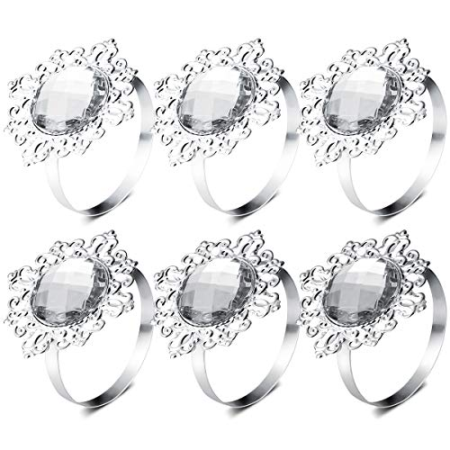 VORCOOL 12pcs Napkin Rings Napkin Holders Wedding Banquet Dinner Decoration (Silver) ()
