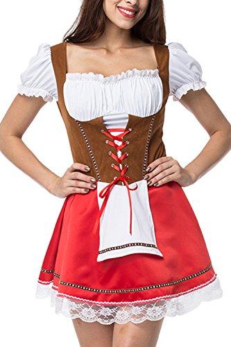 Yacun Women's Dirndl Dress German Traditional Oktoberfest Costumes Red L ()