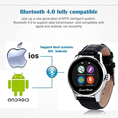 """StarryBay Smart Watch 1.22"""" HD IPS Capacitive Touch Screen Writwatch with Voice Gesture Control for Dual Systems/Android iPhone"""
