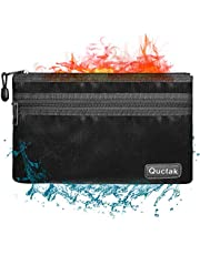 """Fireproof Money Bag Two Pockets Two Zippers, Fireproof Safe Bag 10.6""""x6.7"""" Waterproof and Fireproof Document Bag Fire Safe Pouch File Storage for A5 Document Holder,Cash and Bank Deposit,Passport (Black)"""