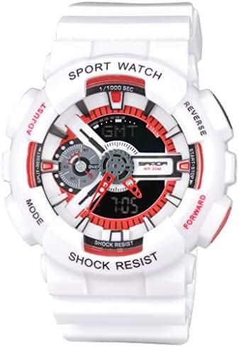Kid's Dual Dial Analog Digital Waterproof Children Students Watch Chronograph Sport Wrist Watch White+Red