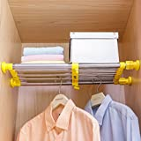 Hershii Closet Tension Shelf & Rod Expandable Metal Storage Rack Adjustable Organizer DIY Divider Separator for Cabinet Wardrobe Cupboard Kitchen Bathroom - Yellow