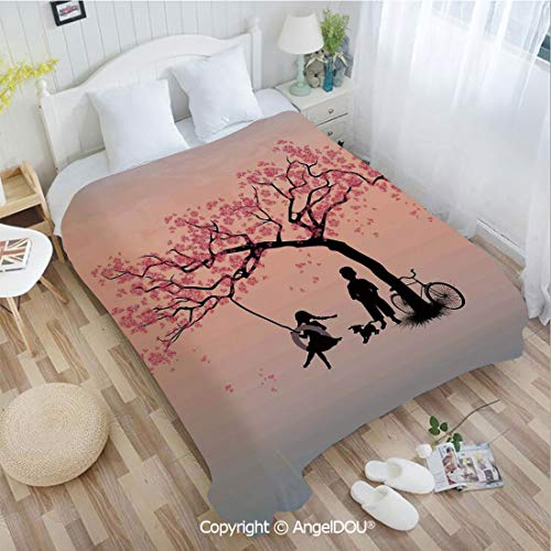 (AngelDOU Portable Car Air Conditioner Blanket W55 xL72 Children Playing on a Tire Swing Under Cherry Tree with Dog Blossom Spring Art for Home Couch Outdoor Travel.)