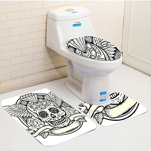Keshia Dwete three-piece toilet seat pad customSugar Skull Illustration of Calavera Diamond Figure and Roses Vintage Revival Cream Grey (Grey Revival Toilet Seat)