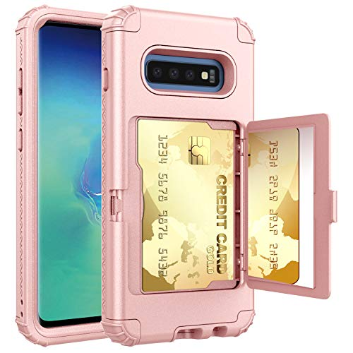 (Galaxy S10 Plus Case, Hidden Door Slim Phone Wallet Case, Fits 2 Cards and Cash, Reinforced Drop Bumper Protection, Open Mirror, Front Frame Screen Protection - Rose Gold)