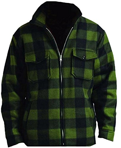 Woodland Supply Co. Men's Heavy Warm Fleece Sherpa Lined Zip Up Buffalo Plaid Jacket,Large,Dark Green
