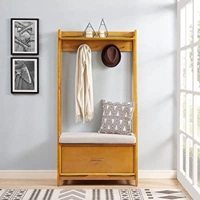By Home Design Entryway Bench with Coat Rack-Acorn Wood Hall Trees with Bench and Coat Racks - STORAGE BENCHES FOR ENTRYWAY - Inspired By Classic Mid Century Modern Design The Hall Stand Offers Mid-Century Style With Modern Day Functionality. COAT HANGER STAND - The Acorn Colored Hardwood Is Equipped With A Pull Out Drawer For Storage, Along With Five Metal Hooks For Jackets And Handbags. SHOE BENCH ENTRYWAY - The Stand Also Offers An Upholstered Cushion For Comfort. - hall-trees, entryway-furniture-decor, entryway-laundry-room - 51SQ7F34DIL. SS400  -