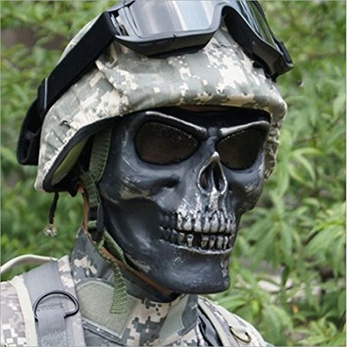 Tactical Military Skull Skeleton Full Face Security Mask War Game Hunting Costume Party (Random: (Fool Costume)