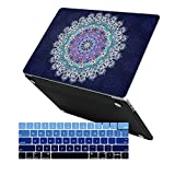 MacBook Pro 13 Case 2018 2017 2016 Release A1989/A1706/A1708, iCasso Hard Case Shell Cover and Keyboard Cover for Apple Newest MacBook Pro 13'' Retina with/Without Touch Bar and Touch ID -Navy Mandala