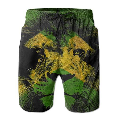 YongColer Cargo Short for Men, Half Pants Full Elastic Waist Regular & Extended Sizes Beachwear for Beach Outdoor Hiking, Lion King of Jamaica Flag Shorts, Fast Dry/Washed