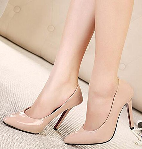 IDIFU Womens Formal Closed Pointed Toe Low Top Slip On High Stiletto Heels Pumps Shoes Apricot 7FmIO