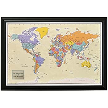 Amazon executive world push pin travel map with black frame personalized push pin travel map with black frame and pins 24 x 36 tan oceans gumiabroncs Gallery