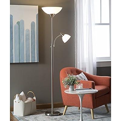 Adesso Piedmont 300-Watt Incandescent Torchiere with 60-Watt Adjustable Reading Lamp