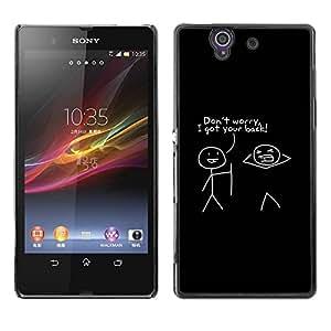 Be Good Phone Accessory // Dura Cáscara cubierta Protectora Caso Carcasa Funda de Protección para Sony Xperia Z L36H C6602 C6603 C6606 C6616 // Quote Friends Funny Stick Man Minima