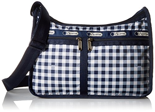 LeSportsac Deluxe Everyday Shoulder Bag, Gingham Classic Navy, One Size