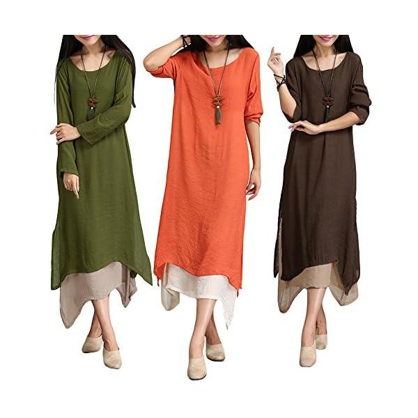 Romacci Women Casual Plus Size Dress Vintage Long Boho Maxi Dress