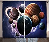 Space Decorations Curtains Solar System Planets All Together in Space Mercury Jupiter Globe Saturn Universe Concept Living Room Bedroom Decor 2 Panel Set Multi