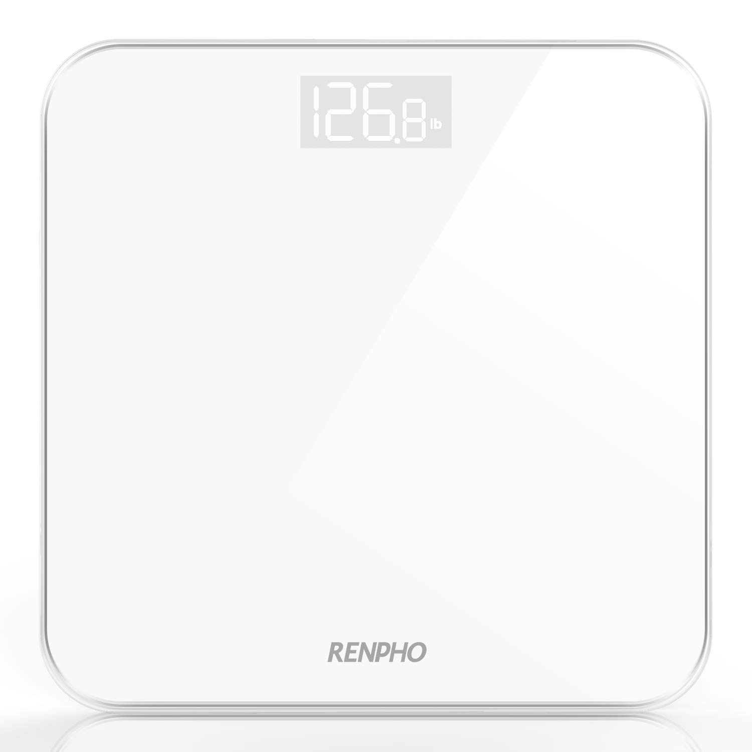 RENPHO Digital Bathroom Scale, Highly Accurate Body Weight Scale with Lighted Display, Step-On Technology, 400 lb, White