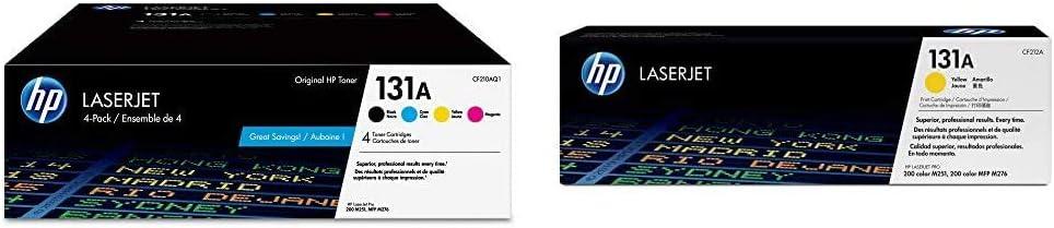 HP 131A | CF210AQ1 | 4 Toner Cartridges | Black, Cyan, Magenta, Yellow & 131A | CF212A | Toner Cartridge | Yellow