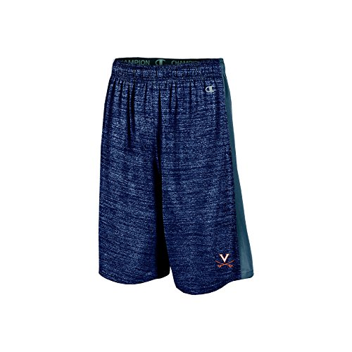 "NCAA Virginia Cavaliers Boys 9"" Inseam Color Blocked Training Short with Pockets, Medium, Navy"